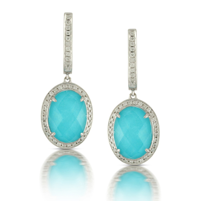 White Gold Topaz Turquoise Diamond Earrings